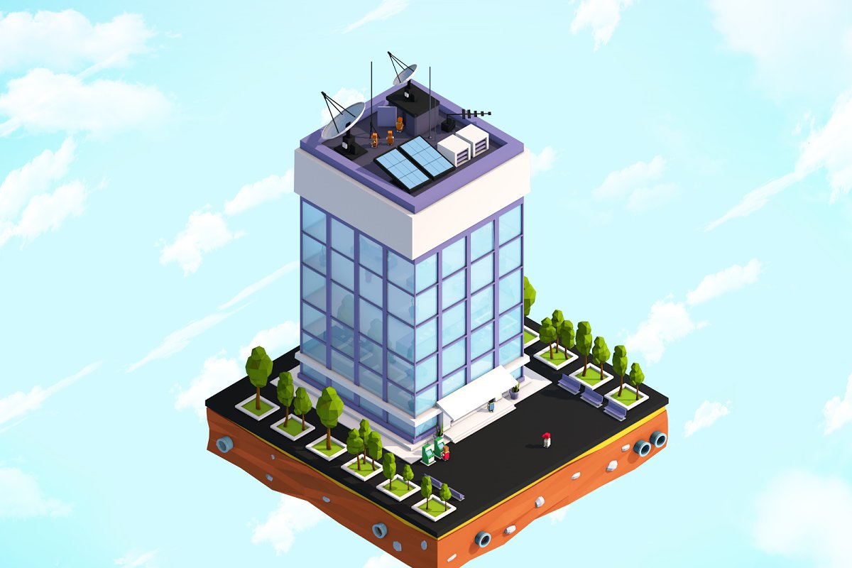 Cartoon Low Poly Office Building