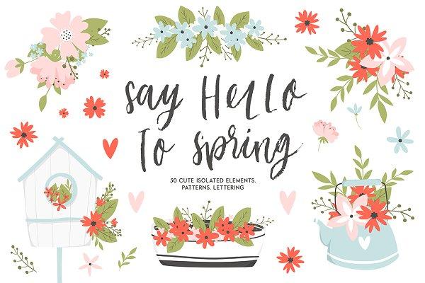Spring set - flowers, lettering etc…