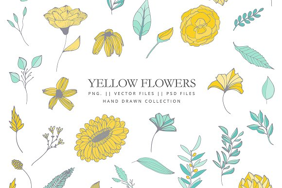 Yellow Flowers Clip Art Hand Drawn Illustrations Creative Market