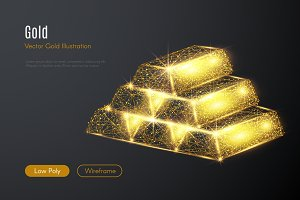 gold bars LOW POLY gold