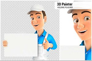 3D Painter Holding Placard