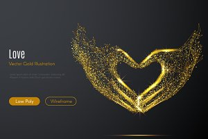 Love shape hands LOW POLY gold