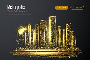metropolis LOW POLY gold
