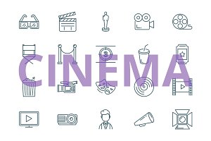 Cinema icons set