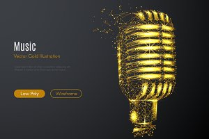 Vintage microphone LOW POLY gold