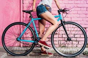 Girl's legs and bike