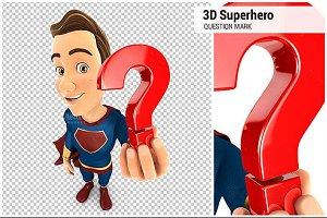 3D Superhero Holding a Question Mark