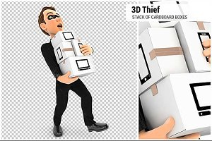 3D Thief Holding Stack of Cardboard