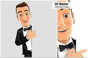 3D Waiter Pointing to Blank Wall