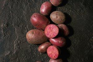 Raw potatoes lilu rose