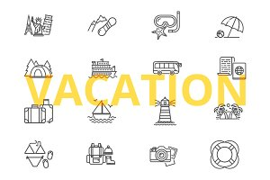 Vacation icons set