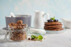 Chocolate baked granola