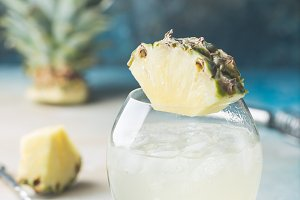 Cold refreshing pineapple drink