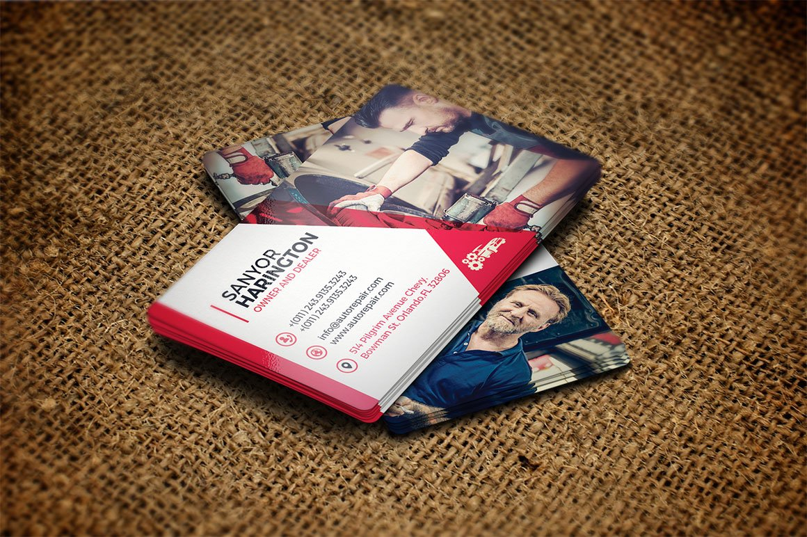 Auto Repair Business Card Template ~ Business Card Templates ...