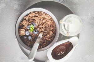 Granola. Breakfast background