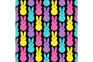 Cute Easter seamless pattern design with funny cartoon characters of bunnies in 80s and 90s style neon colors