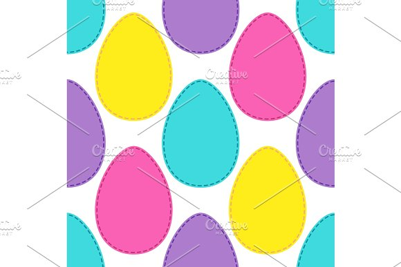 Cute Easter Seamless Pattern Design With Bright Egg Patchwork