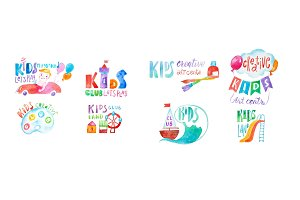 Set of colorful kids club care and education center symbols drawn with aquarelle technique