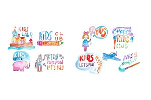 Watercolor set of kids club and playground logos. Hand-drawn collection of promotional symbols with calligraphic letterings for children entertaining center