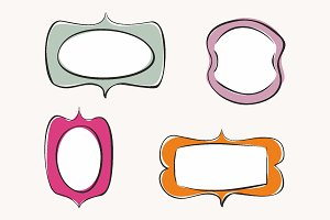 Hand drawn cute vector frame set