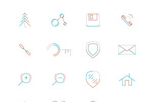 16 thin web icons set 7