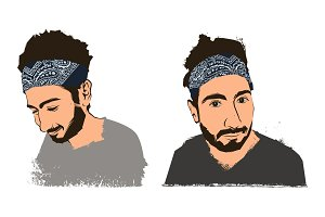 young handsome bearded guy hipster in bandana. Vector illustration