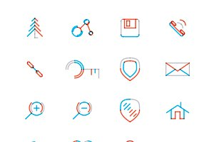 16 thin web icons set 8