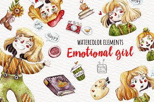 Watercolor Emotional Girl