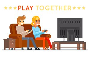 Play together gamer young girl boy