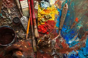 art paints, palette, brushes pencil