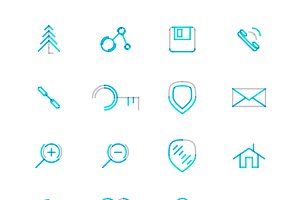 16 thin web icons set 10