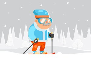 Skiing Grandfather Adult Skier