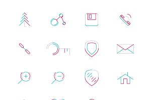 16 thin web icons set 16