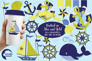 Nautical Clipart Red & Blue AMB-521