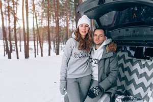 Love story couple winter forest