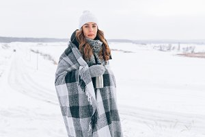 winter woman in blanket