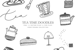 Clip art Tea time - hand drawn