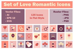 Set Of Love Romantic Icons