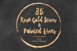 35 Rose Gold Icons & Painted Lines