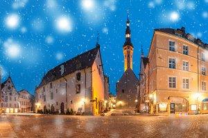 Morning street in the Old Town of Tallinn, Estonia