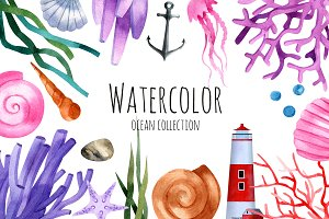 Watercolor ocean collection