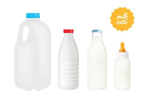 Vector milk bottles
