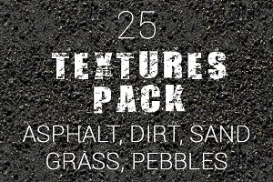 25 Textures Pack. Asphalt and more