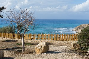Photo of sea coast behind wooden fence