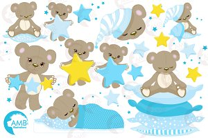 Teddy Bear Clipart in blue, AMB-980