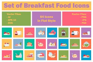 Set of Breakfast Food Icons