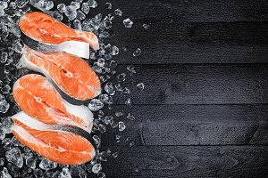 Salmon steaks on ice