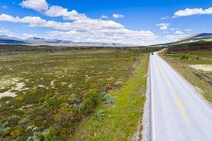 Road in Norway aerial shot