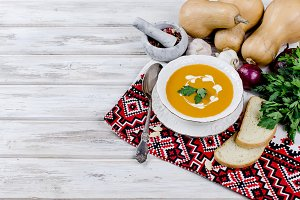Pumpkin cream soup with pumpkin seed