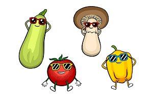 Vegetables sunbath pop art vector illustration